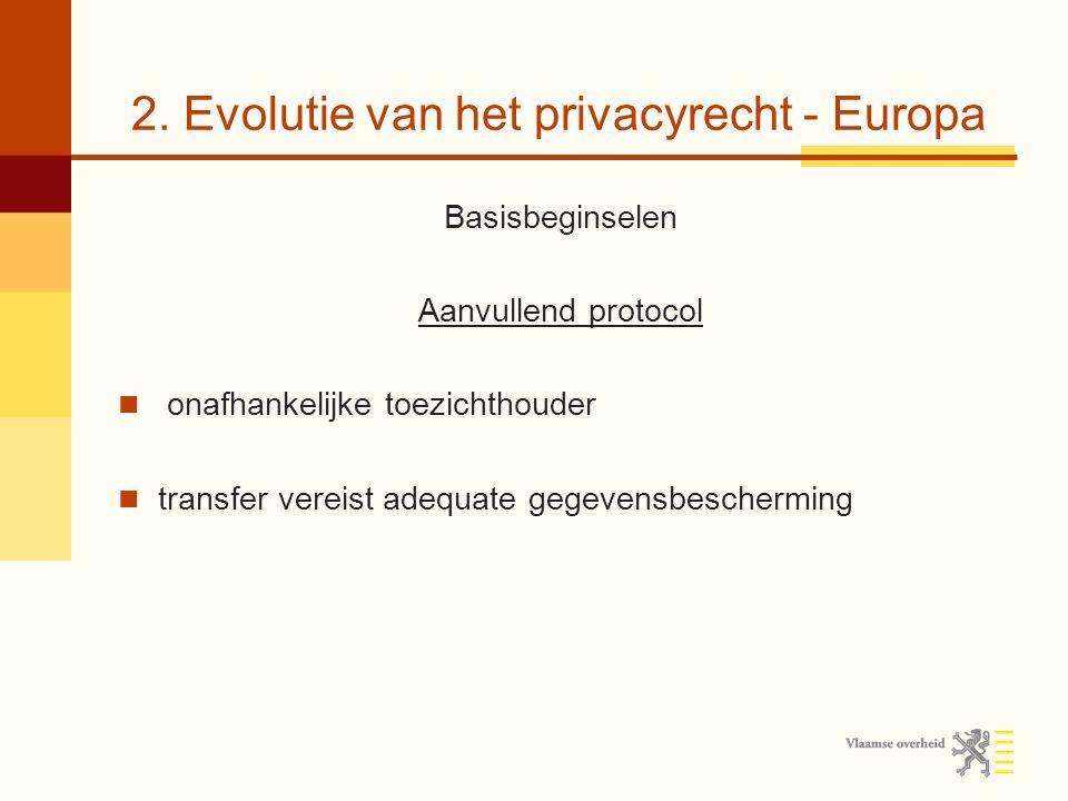 2. Evolutie van het privacyrecht - Europa Basisbeginselen Aanvullend protocol onafhankelijke toezichthouder transfer vereist adequate gegevensbescherm