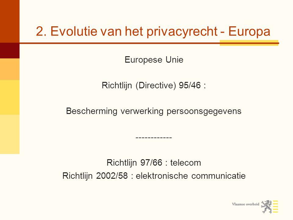 2. Evolutie van het privacyrecht - Europa Europese Unie Richtlijn (Directive) 95/46 : Bescherming verwerking persoonsgegevens ------------ Richtlijn 9