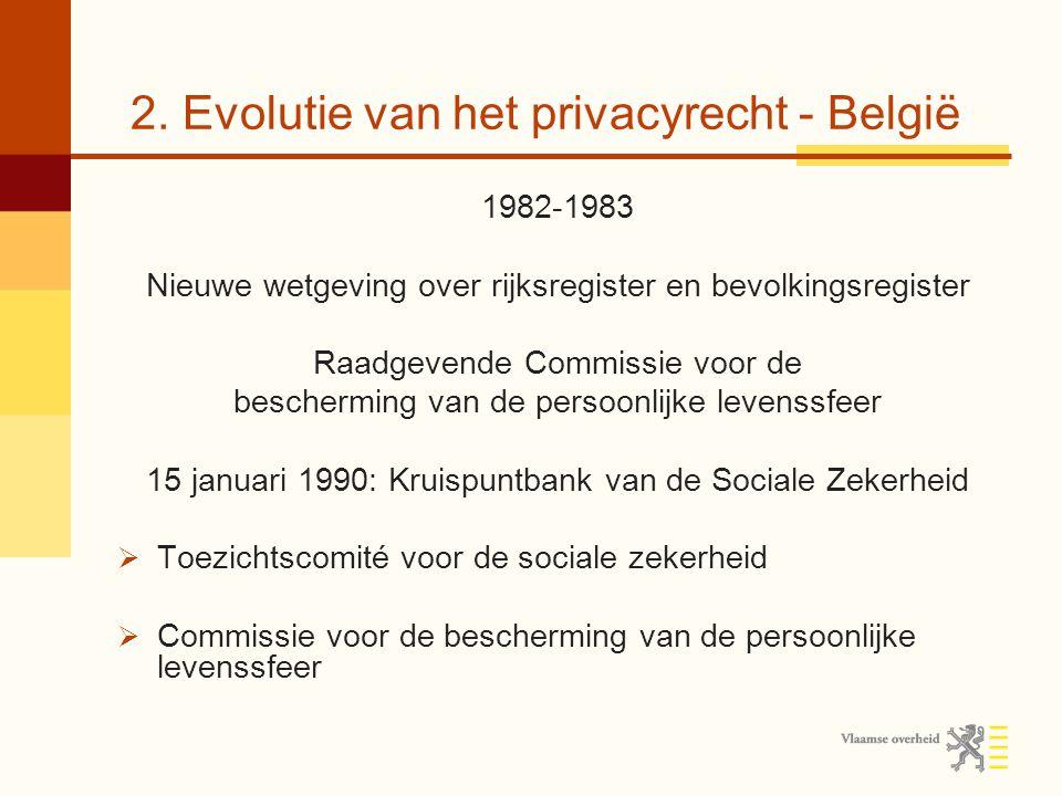 2. Evolutie van het privacyrecht - België 1982-1983 Nieuwe wetgeving over rijksregister en bevolkingsregister Raadgevende Commissie voor de beschermin