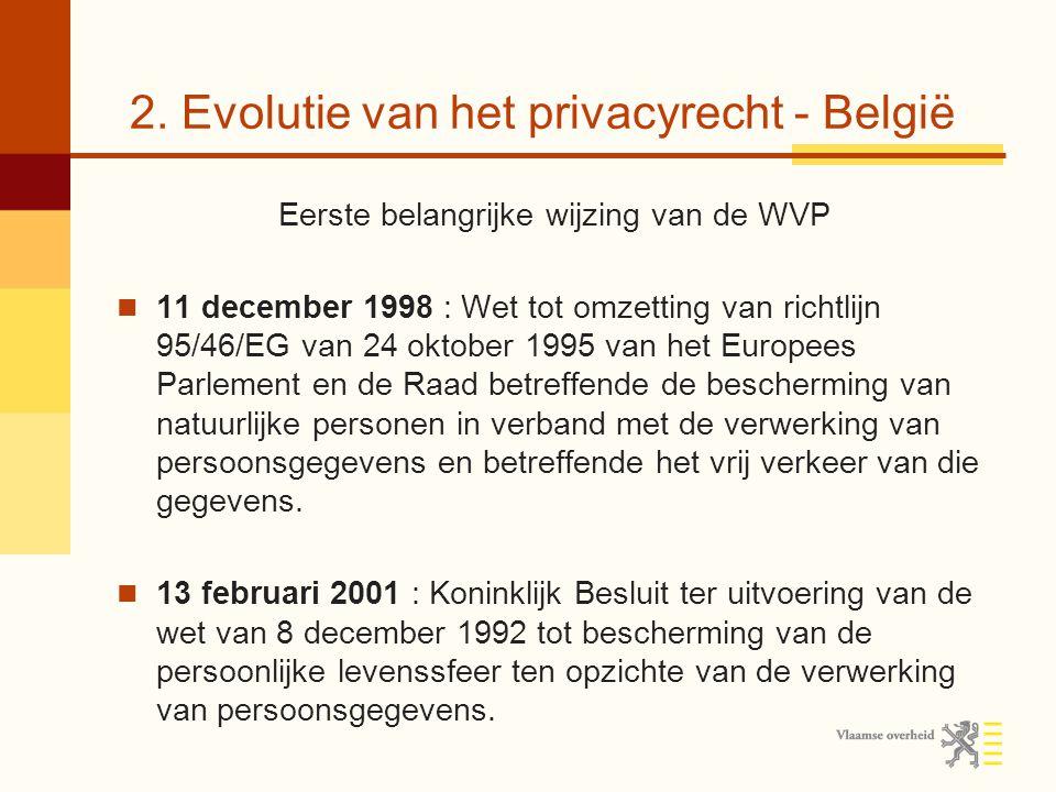 2. Evolutie van het privacyrecht - België Eerste belangrijke wijzing van de WVP 11 december 1998 : Wet tot omzetting van richtlijn 95/46/EG van 24 okt