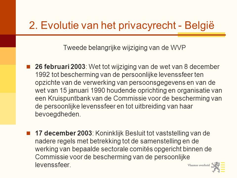 2. Evolutie van het privacyrecht - België Tweede belangrijke wijziging van de WVP 26 februari 2003: Wet tot wijziging van de wet van 8 december 1992 t