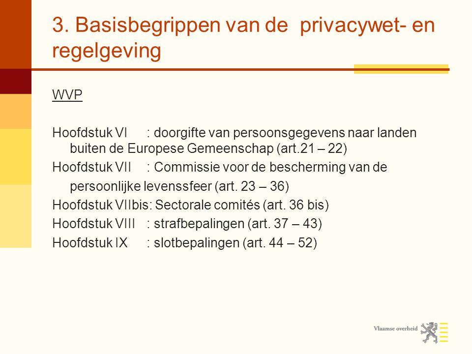 3. Basisbegrippen van de privacywet- en regelgeving WVP Hoofdstuk VI: doorgifte van persoonsgegevens naar landen buiten de Europese Gemeenschap (art.2