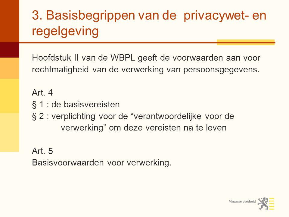 3. Basisbegrippen van de privacywet- en regelgeving Hoofdstuk II van de WBPL geeft de voorwaarden aan voor rechtmatigheid van de verwerking van persoo