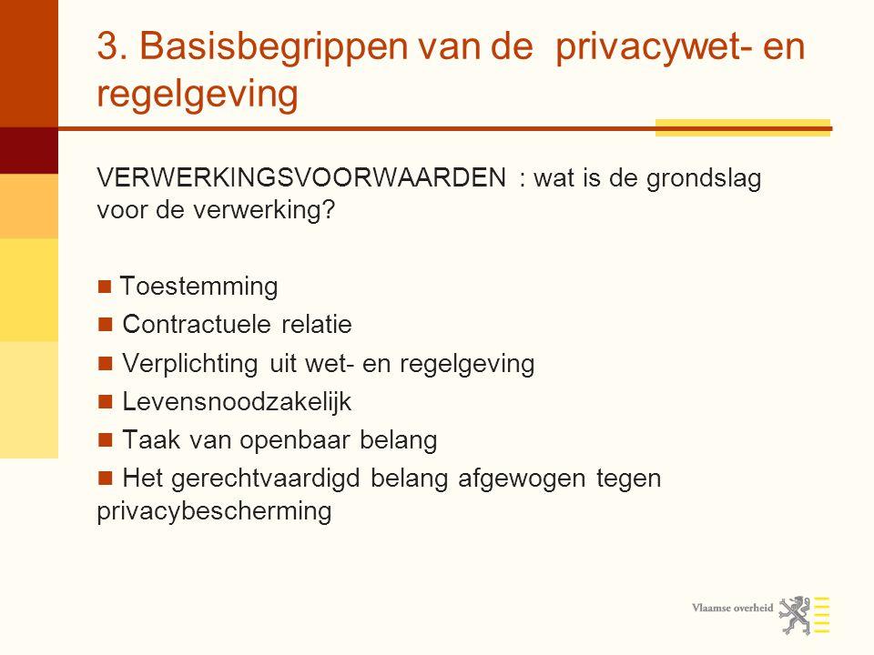 3. Basisbegrippen van de privacywet- en regelgeving VERWERKINGSVOORWAARDEN : wat is de grondslag voor de verwerking? Toestemming Contractuele relatie