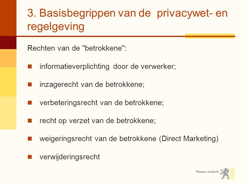 3. Basisbegrippen van de privacywet- en regelgeving Rechten van de