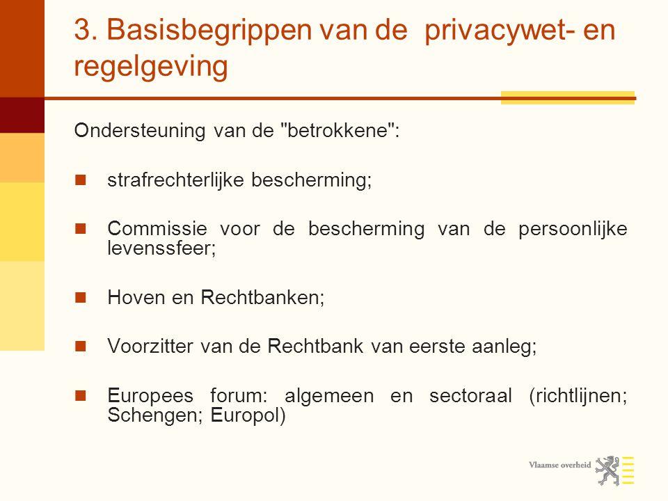3. Basisbegrippen van de privacywet- en regelgeving Ondersteuning van de