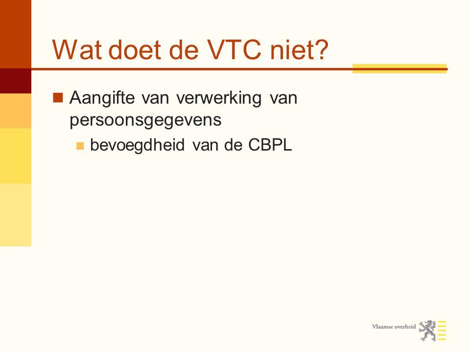 Wat doet de VTC niet Aangifte van verwerking van persoonsgegevens bevoegdheid van de CBPL