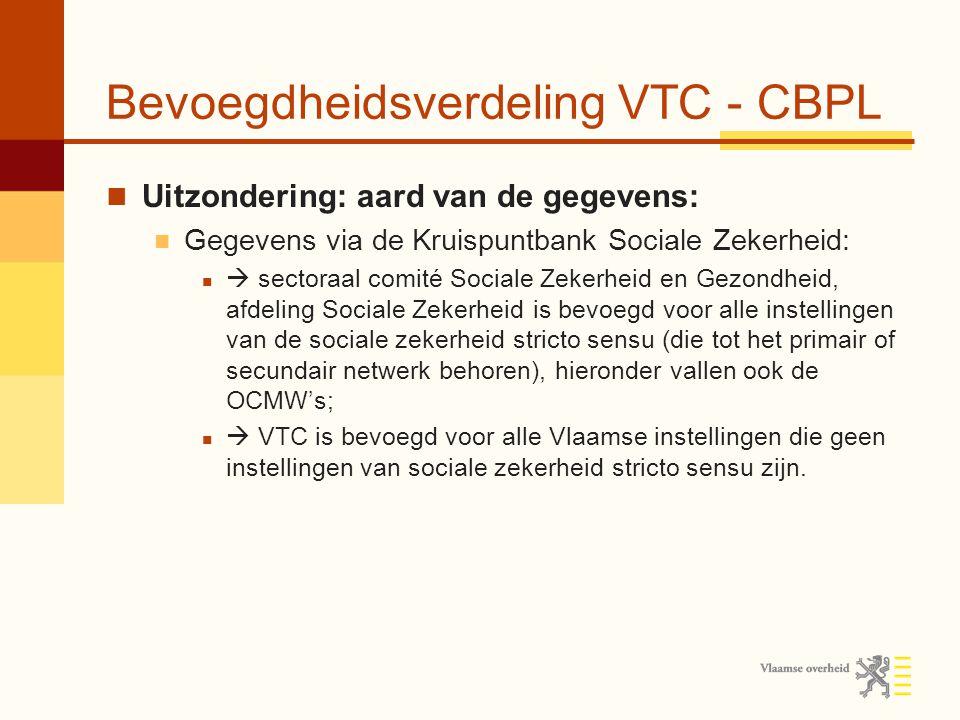 Bevoegdheidsverdeling VTC - CBPL Uitzondering: aard van de gegevens: Gegevens via de Kruispuntbank Sociale Zekerheid:  sectoraal comité Sociale Zekerheid en Gezondheid, afdeling Sociale Zekerheid is bevoegd voor alle instellingen van de sociale zekerheid stricto sensu (die tot het primair of secundair netwerk behoren), hieronder vallen ook de OCMW's;  VTC is bevoegd voor alle Vlaamse instellingen die geen instellingen van sociale zekerheid stricto sensu zijn.