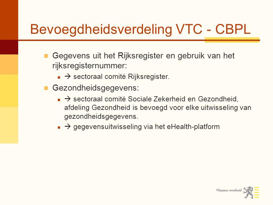 Bevoegdheidsverdeling VTC - CBPL Gegevens uit het Rijksregister en gebruik van het rijksregisternummer:  sectoraal comité Rijksregister.