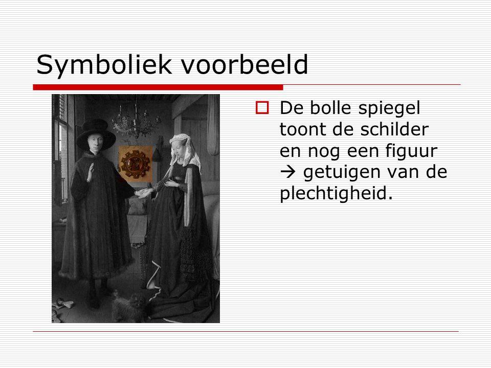 Symboliek voorbeeld  De bolle spiegel toont de schilder en nog een figuur  getuigen van de plechtigheid.