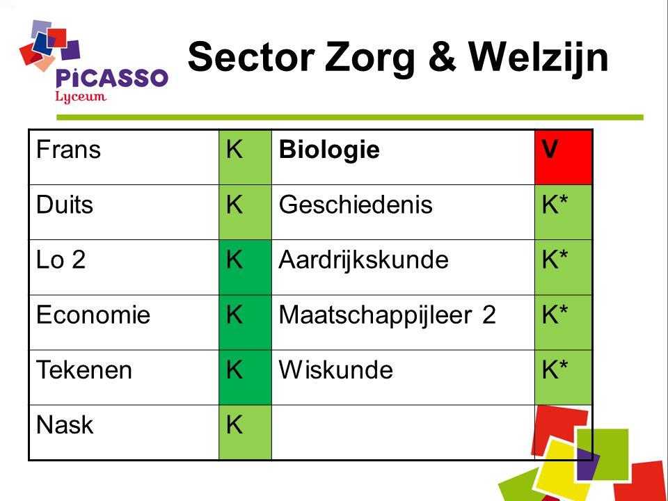 Sector Zorg & Welzijn FransKBiologieV DuitsKGeschiedenisK* Lo 2KAardrijkskundeK* EconomieKMaatschappijleer 2K* TekenenKWiskundeK* NaskK