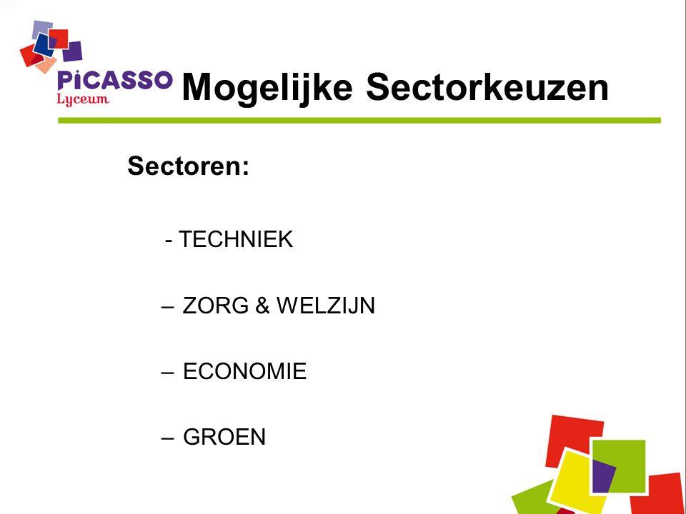 Mogelijke Sectorkeuzen Sectoren: - TECHNIEK –ZORG & WELZIJN –ECONOMIE –GROEN