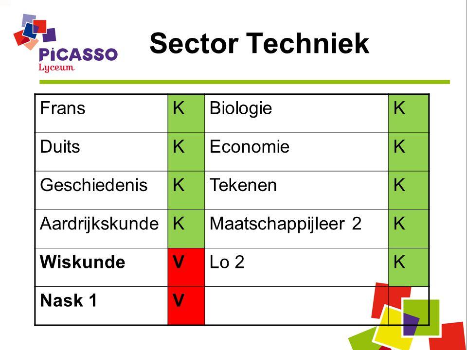 Sector Techniek FransKBiologieK DuitsKEconomieK GeschiedenisKTekenenK AardrijkskundeKMaatschappijleer 2K WiskundeVLo 2K Nask 1V