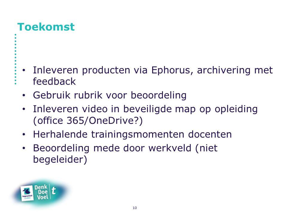 Toekomst Inleveren producten via Ephorus, archivering met feedback Gebruik rubrik voor beoordeling Inleveren video in beveiligde map op opleiding (off