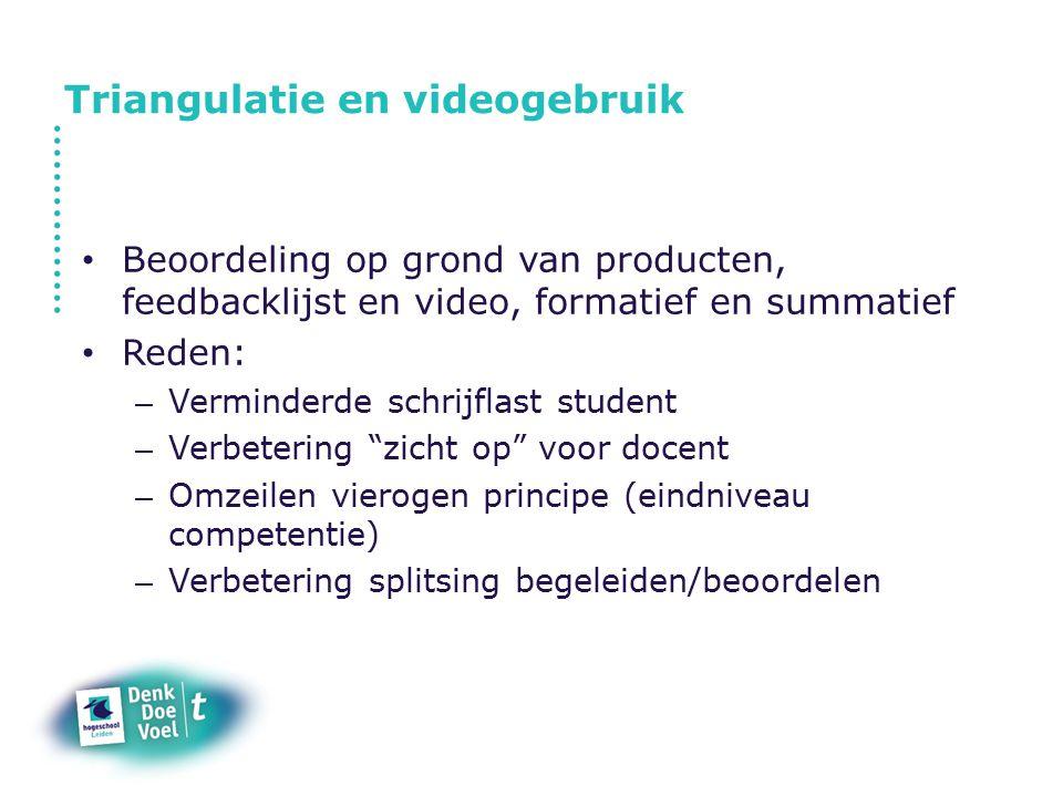Triangulatie en videogebruik Video-upload in beveiligde omgeving Producten in portfolio, inclusief feedbacklijst Beoordeling digitaal (excel met rekenfunctie) Competenties ten grondslag aan de beoordeling