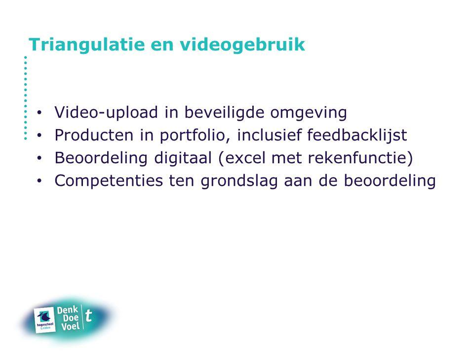 Triangulatie en videogebruik Video-upload in beveiligde omgeving Producten in portfolio, inclusief feedbacklijst Beoordeling digitaal (excel met reken
