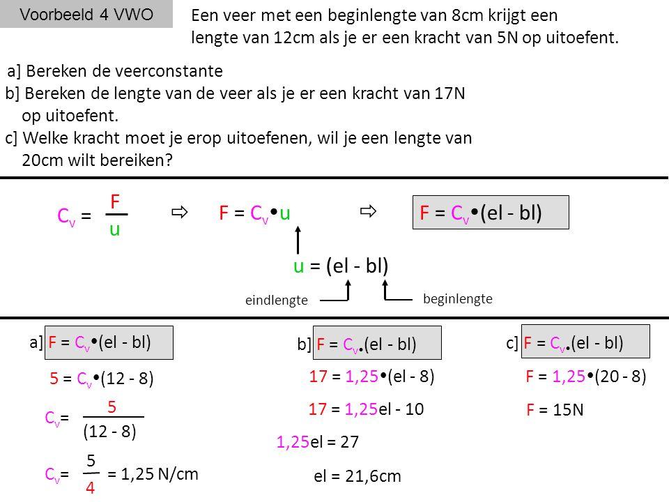 Voorbeeld 4 VWO Een veer met een beginlengte van 8cm krijgt een lengte van 12cm als je er een kracht van 5N op uitoefent. a] Bereken de veerconstante