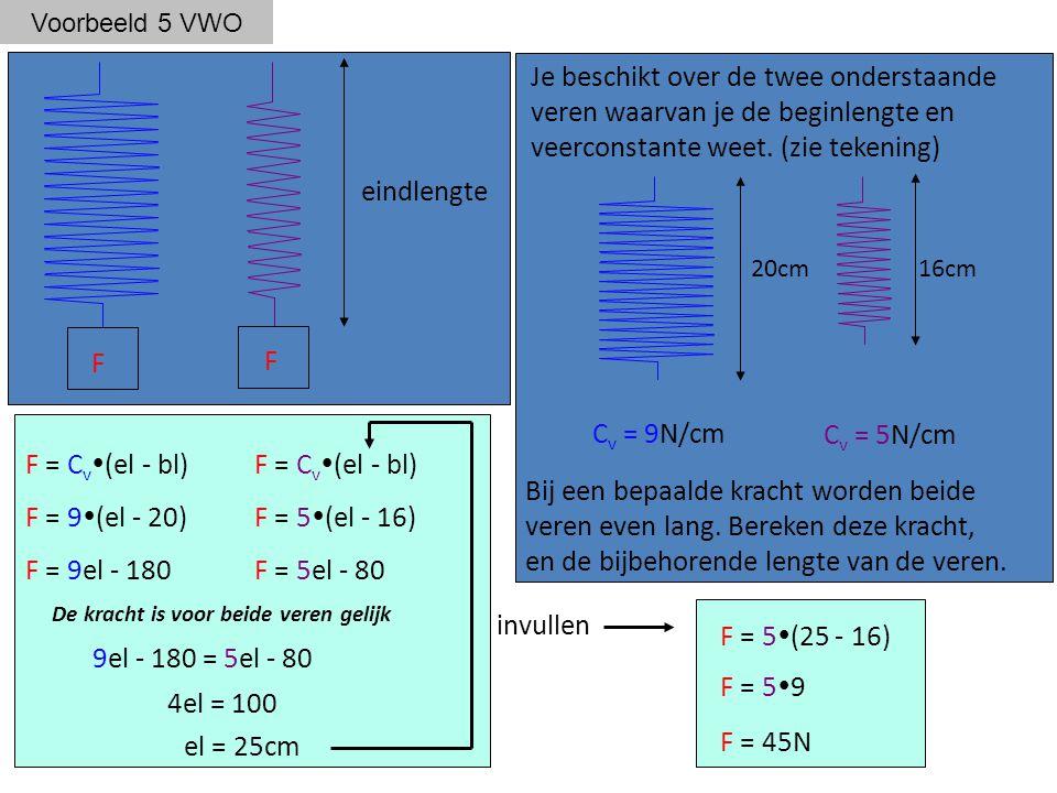 Voorbeeld 5 VWO F = C v  (el - bl) F F = 9  (el - 20) F = 9el - 180 F = 5  (el - 16) F = 5el - 80 20cm C v = 9N/cm 16cm C v = 5N/cm 9el - 180 = 5el