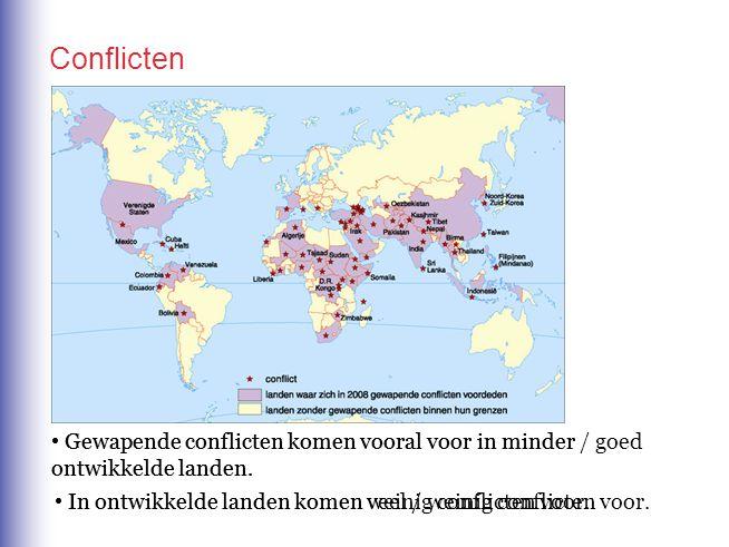 Gewapende conflicten komen vooral voor in minder / goed ontwikkelde landen. In ontwikkelde landen komen veel / weinig conflicten voor. In ontwikkelde