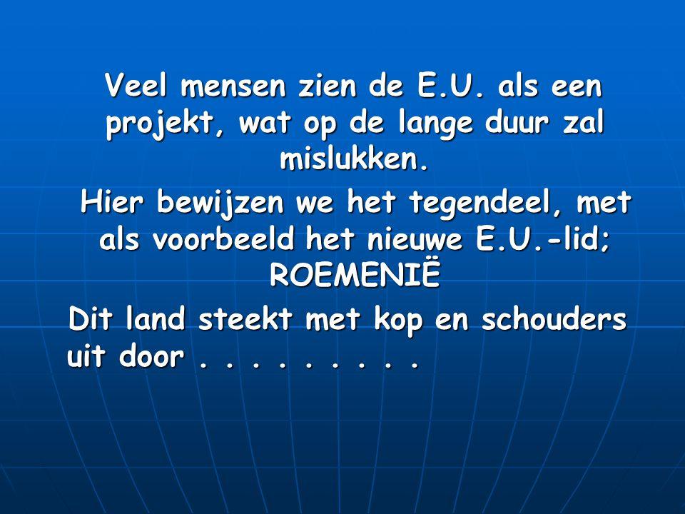 Veel mensen zien de E.U. als een projekt, wat op de lange duur zal mislukken.