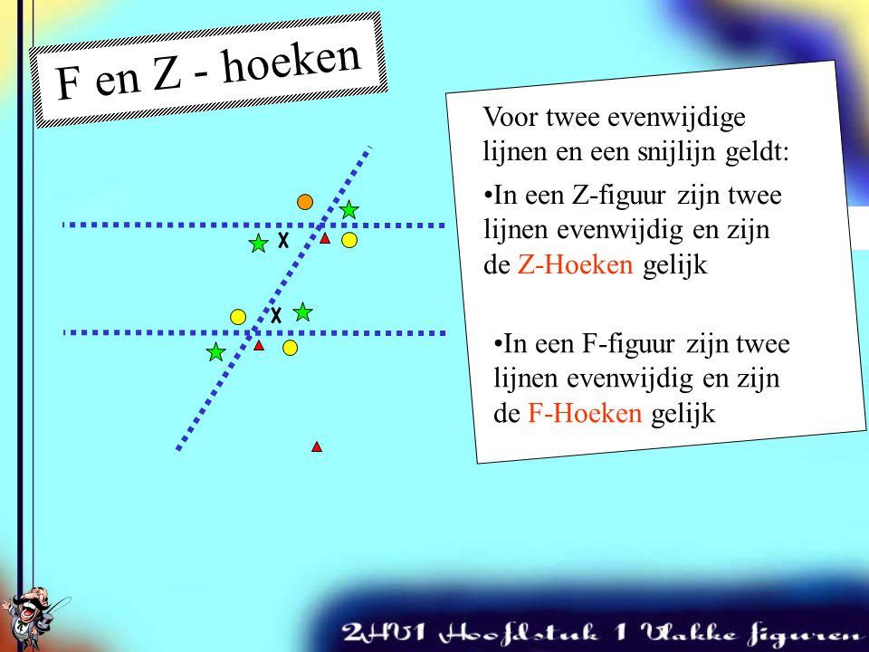 F en Z - hoeken Twee snijdende lijnen Voor twee evenwijdige lijnen en een snijlijn geldt: In een Z-figuur zijn twee lijnen evenwijdig en zijn de Z-Hoeken gelijk In een F-figuur zijn twee lijnen evenwijdig en zijn de F-Hoeken gelijk