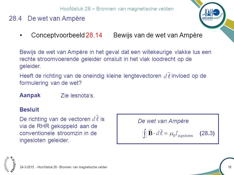 Hoofdstuk 28 – Bronnen van magnetische velden 24-3-2015 - Hoofdstuk 28 - Bronnen van magnetische velden 18 28.4 De wet van Ampère Conceptvoorbeeld 28.