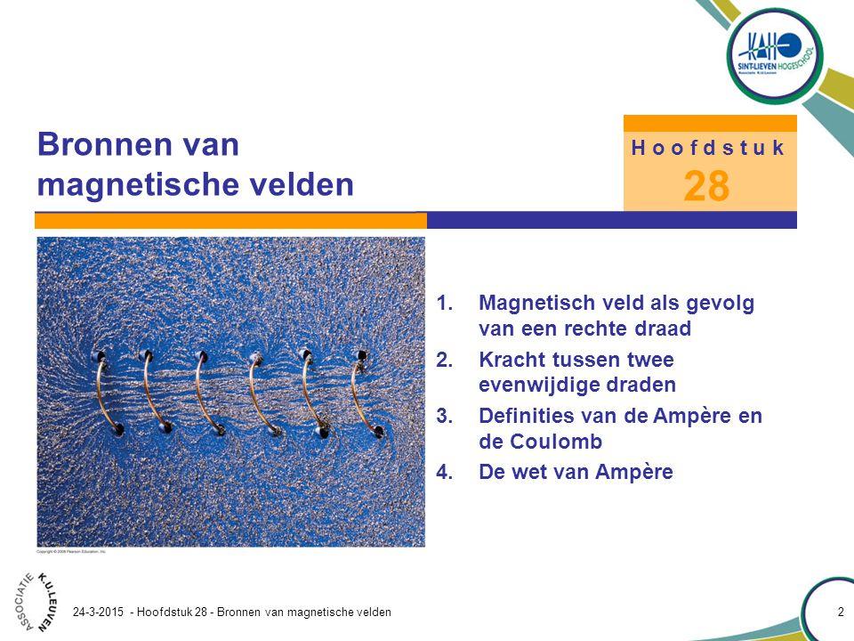 Hoofdstuk 28 – Bronnen van magnetische velden 24-3-2015 - Hoofdstuk 28 - Bronnen van magnetische velden 33 28.6 De wet van Biot-Savart Voorbeeld 28.11 als gevolg van een stroom I in een rechte draad Toon aan dat de wet van Biot- Savart voor het veld in de buurt van een lange rechte draad waardoor een stroom I loopt hetzelfde resultaat oplevert als de wet van Ampère: Aanpak Bereken het -veld in P op loodrechte afstand R van een oneindig lange draad.