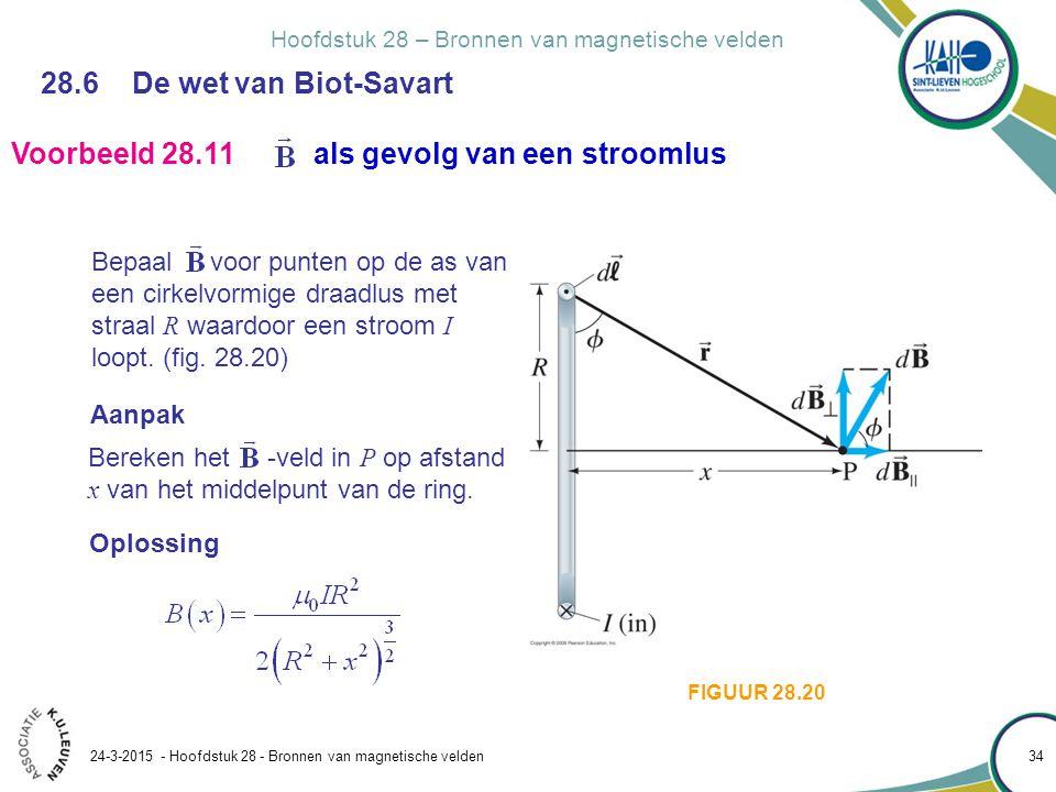 Hoofdstuk 28 – Bronnen van magnetische velden 24-3-2015 - Hoofdstuk 28 - Bronnen van magnetische velden 34 28.6 De wet van Biot-Savart Bepaal voor pun