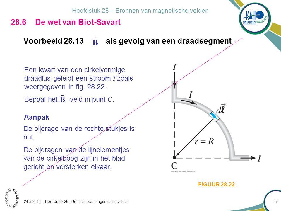 Hoofdstuk 28 – Bronnen van magnetische velden 24-3-2015 - Hoofdstuk 28 - Bronnen van magnetische velden 36 28.6 De wet van Biot-Savart Voorbeeld 28.13