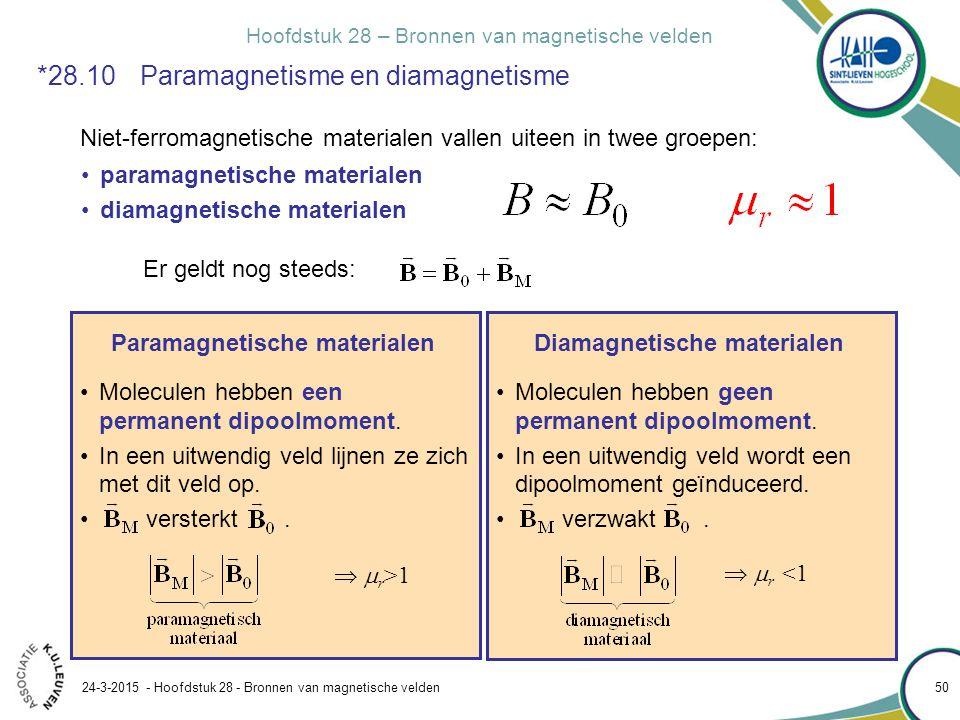 Hoofdstuk 28 – Bronnen van magnetische velden 24-3-2015 - Hoofdstuk 28 - Bronnen van magnetische velden 50 *28.10 Paramagnetisme en diamagnetisme Niet