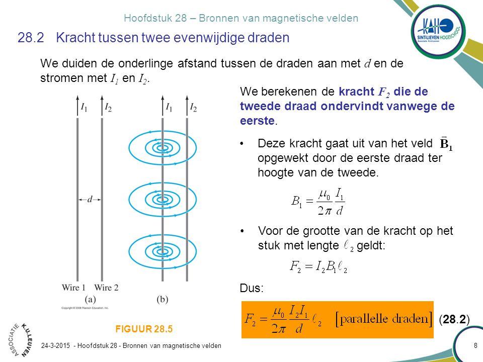 Hoofdstuk 28 – Bronnen van magnetische velden 24-3-2015 - Hoofdstuk 28 - Bronnen van magnetische velden 9 28.2 Kracht tussen twee evenwijdige draden We duiden de onderlinge afstand tussen de draden aan met d en de stromen met I 1 en I 2.