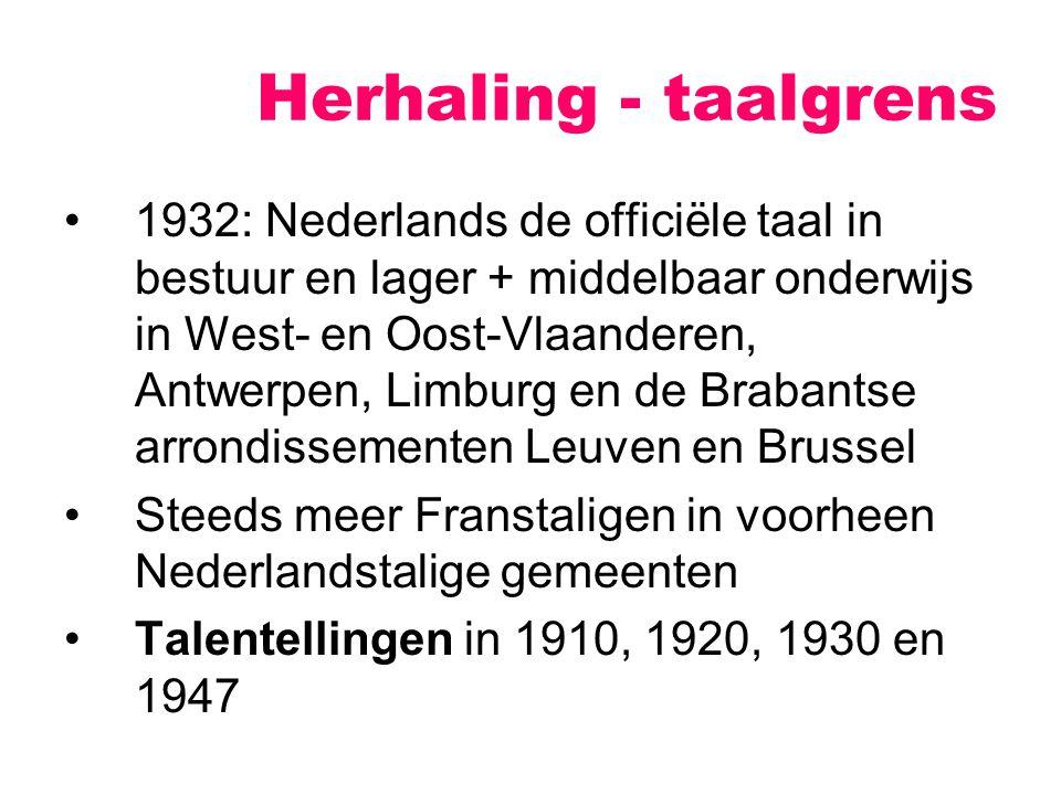 1932: Nederlands de officiële taal in bestuur en lager + middelbaar onderwijs in West- en Oost-Vlaanderen, Antwerpen, Limburg en de Brabantse arrondissementen Leuven en Brussel Steeds meer Franstaligen in voorheen Nederlandstalige gemeenten Talentellingen in 1910, 1920, 1930 en 1947 Herhaling - taalgrens