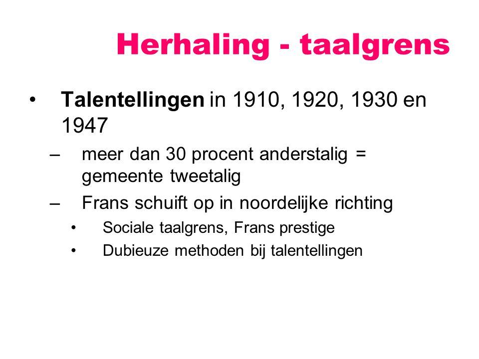 Talentellingen in 1910, 1920, 1930 en 1947 –meer dan 30 procent anderstalig = gemeente tweetalig –Frans schuift op in noordelijke richting Sociale taalgrens, Frans prestige Dubieuze methoden bij talentellingen Herhaling - taalgrens