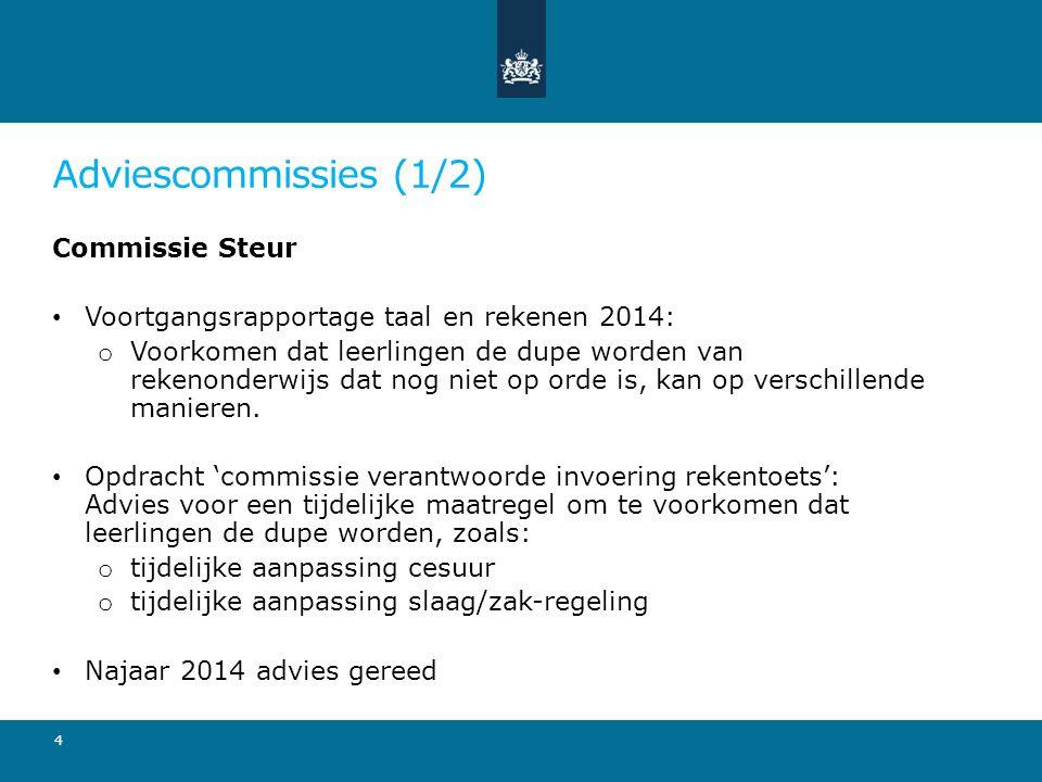 Adviescommissies (1/2) Commissie Steur Voortgangsrapportage taal en rekenen 2014: o Voorkomen dat leerlingen de dupe worden van rekenonderwijs dat nog