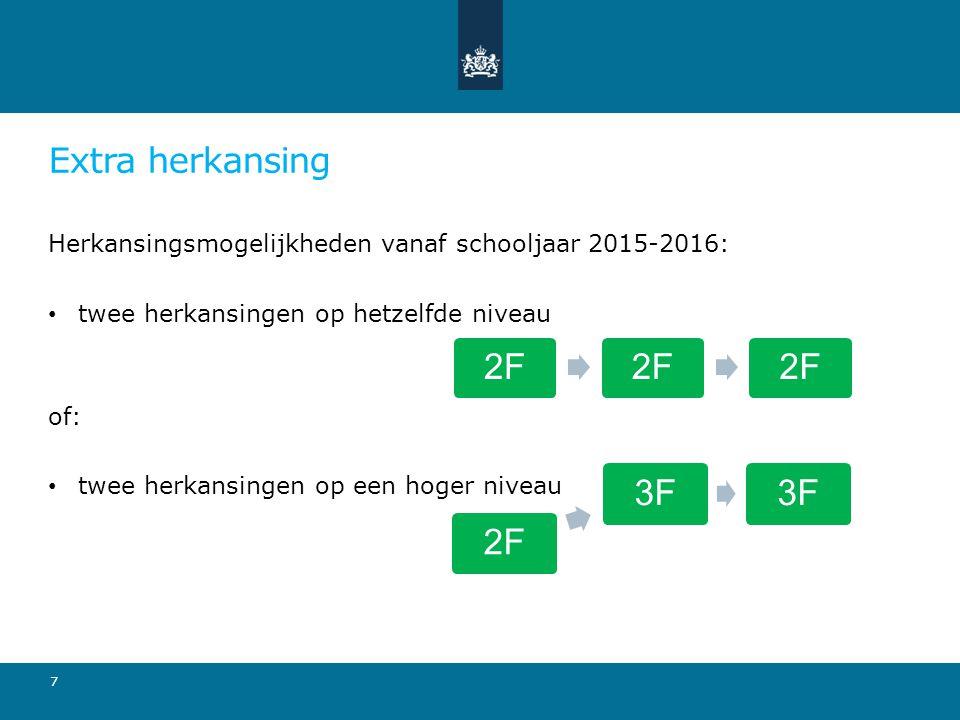 Extra herkansing Herkansingsmogelijkheden vanaf schooljaar 2015-2016: twee herkansingen op hetzelfde niveau of: twee herkansingen op een hoger niveau