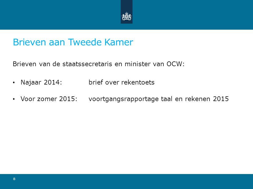 Brieven aan Tweede Kamer Brieven van de staatssecretaris en minister van OCW: Najaar 2014: brief over rekentoets Voor zomer 2015: voortgangsrapportage