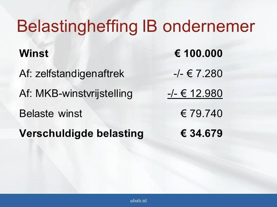 Belastingheffing IB ondernemer Winst Af: zelfstandigenaftrek Af: MKB-winstvrijstelling Belaste winst Verschuldigde belasting € 100.000 -/- € 7.280 -/- € 12.980 € 79.740 € 34.679