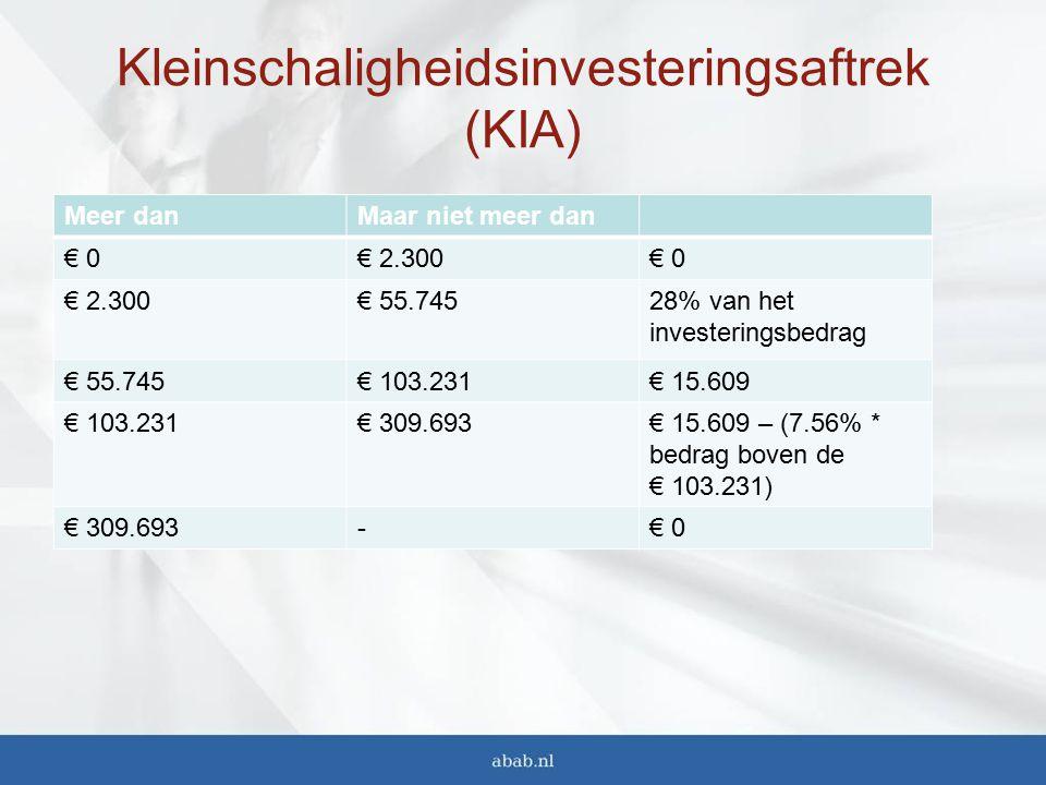 Kleinschaligheidsinvesteringsaftrek (KIA) Meer danMaar niet meer dan € 0€ 2.300€ 0 € 2.300€ 55.74528% van het investeringsbedrag € 55.745€ 103.231€ 15.609 € 103.231€ 309.693€ 15.609 – (7.56% * bedrag boven de € 103.231) € 309.693-€ 0