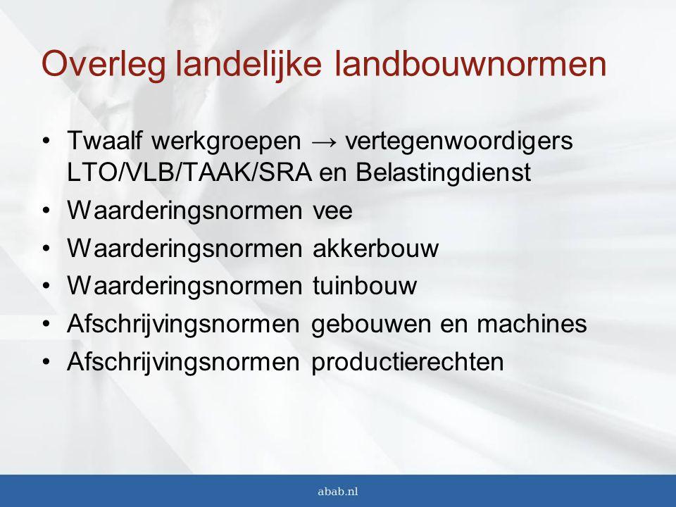 Overleg landelijke landbouwnormen Twaalf werkgroepen → vertegenwoordigers LTO/VLB/TAAK/SRA en Belastingdienst Waarderingsnormen vee Waarderingsnormen akkerbouw Waarderingsnormen tuinbouw Afschrijvingsnormen gebouwen en machines Afschrijvingsnormen productierechten