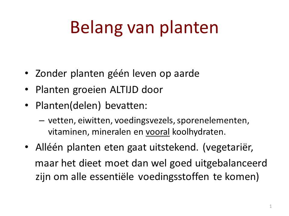 1 Belang van planten Zonder planten géén leven op aarde Planten groeien ALTIJD door Planten(delen) bevatten: –v–vetten, eiwitten, voedingsvezels, sporenelementen, vitaminen, mineralen en vooral koolhydraten.