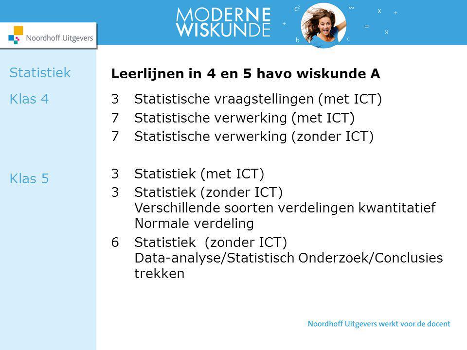 Leerlijnen in 4 en 5 havo wiskunde A 3Statistische vraagstellingen (met ICT) 7Statistische verwerking (met ICT) 7Statistische verwerking (zonder ICT)