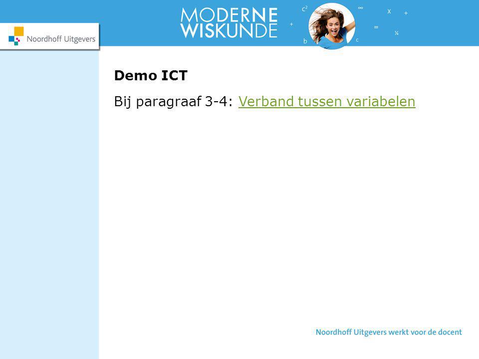 Demo ICT Bij paragraaf 3-4: Verband tussen variabelenVerband tussen variabelen