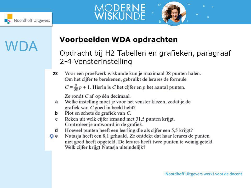 Voorbeelden WDA opdrachten WDA Opdracht bij H2 Tabellen en grafieken, paragraaf 2-4 Vensterinstelling