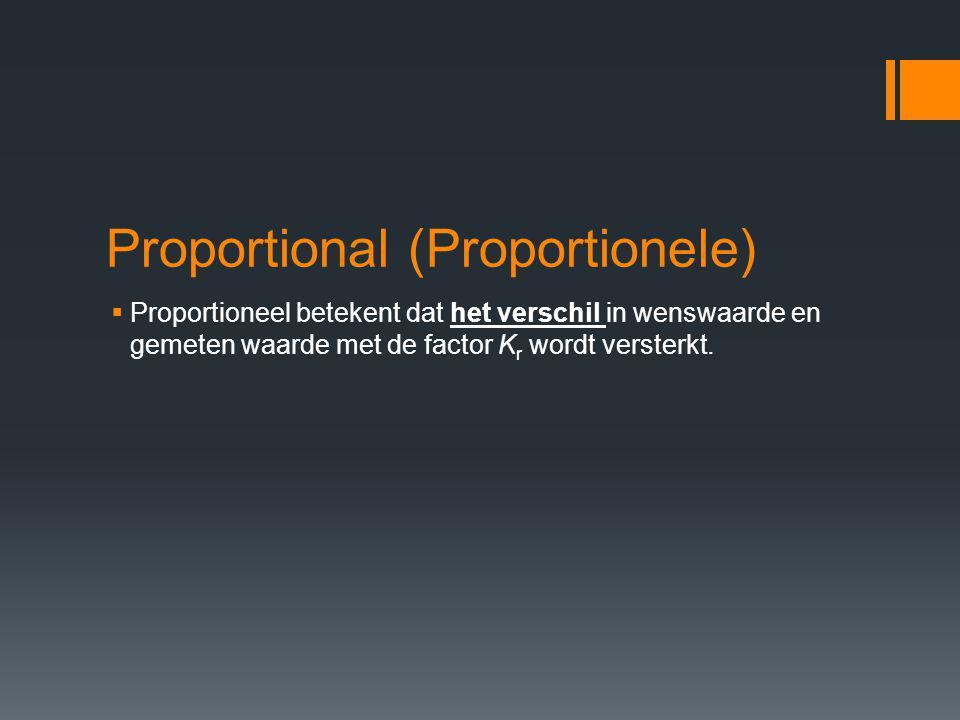 Proportional (Proportionele)  Proportioneel betekent dat het verschil in wenswaarde en gemeten waarde met de factor K r wordt versterkt.