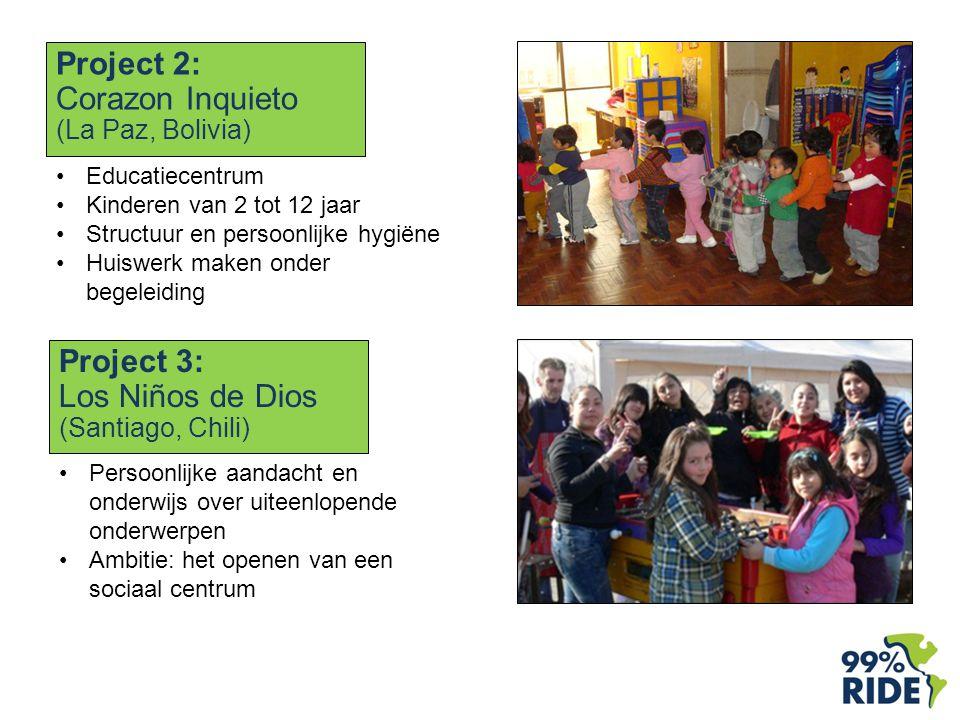 Project 2: Corazon Inquieto (La Paz, Bolivia) Educatiecentrum Kinderen van 2 tot 12 jaar Structuur en persoonlijke hygiëne Huiswerk maken onder begeleiding Project 3: Los Niños de Dios (Santiago, Chili) Persoonlijke aandacht en onderwijs over uiteenlopende onderwerpen Ambitie: het openen van een sociaal centrum