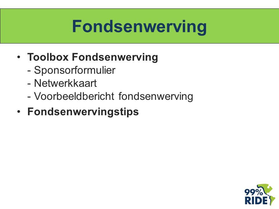 Fondsenwerving Toolbox Fondsenwerving - Sponsorformulier - Netwerkkaart - Voorbeeldbericht fondsenwerving Fondsenwervingstips