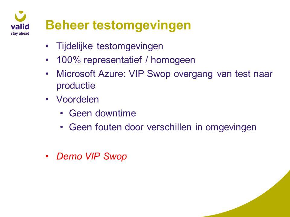 Beheer testomgevingen Demo VIP Swop Tijdelijke testomgevingen 100% representatief / homogeen Microsoft Azure: VIP Swop overgang van test naar productie Voordelen Geen downtime Geen fouten door verschillen in omgevingen