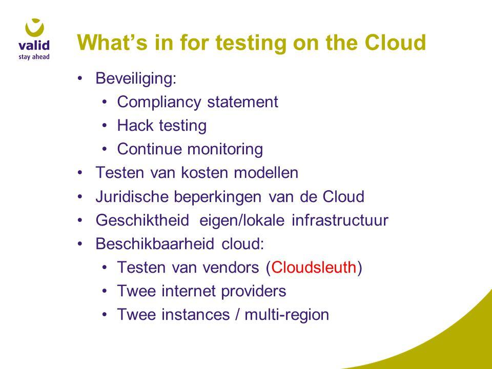 Beveiliging: Compliancy statement Hack testing Continue monitoring Testen van kosten modellen Juridische beperkingen van de Cloud Geschiktheid eigen/lokale infrastructuur Beschikbaarheid cloud: Testen van vendors (Cloudsleuth) Twee internet providers Twee instances / multi-region
