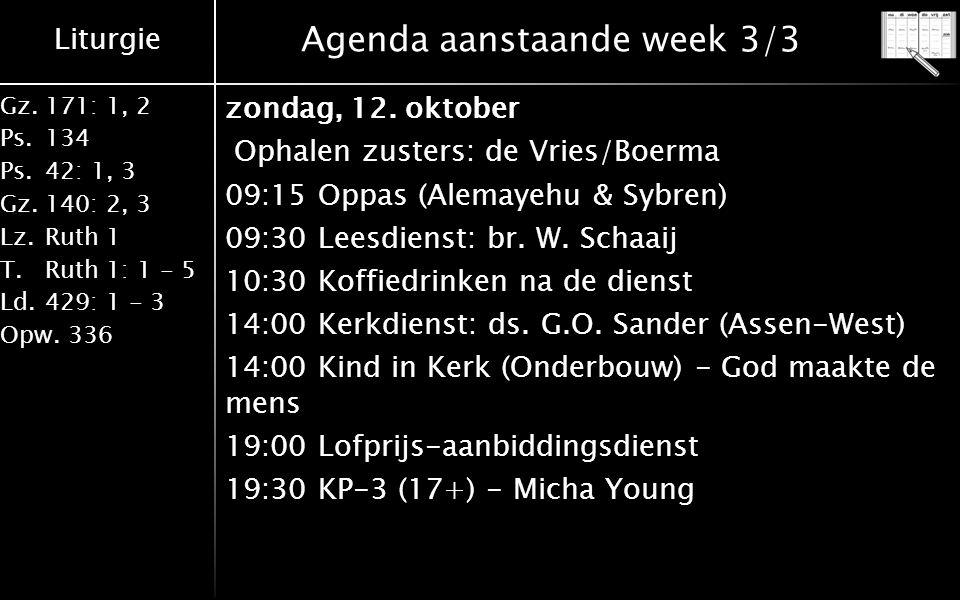 Liturgie Gz.171: 1, 2 Ps.134 Ps.42: 1, 3 Gz.140: 2, 3 Lz.Ruth 1 T.Ruth 1: 1 - 5 Ld.429: 1 - 3 Opw.336 Agenda aanstaande week 3/3 zondag, 12.
