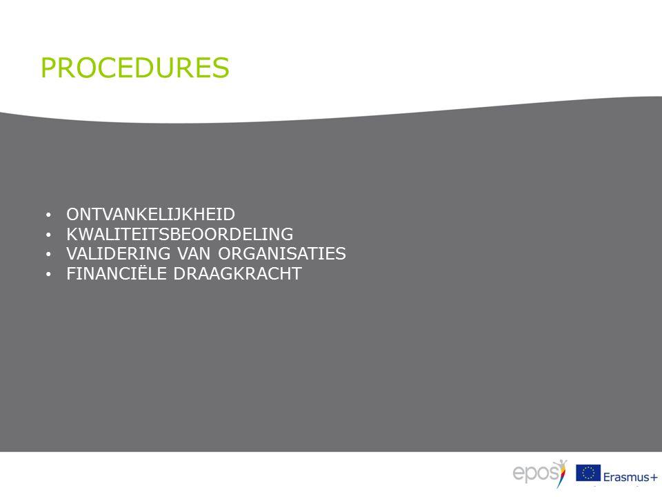PROCEDURES ONTVANKELIJKHEID KWALITEITSBEOORDELING VALIDERING VAN ORGANISATIES FINANCIËLE DRAAGKRACHT